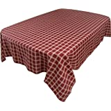 Myles Table Carolina Check Tablecloth, Ruby/Beige 60 by 84 inches