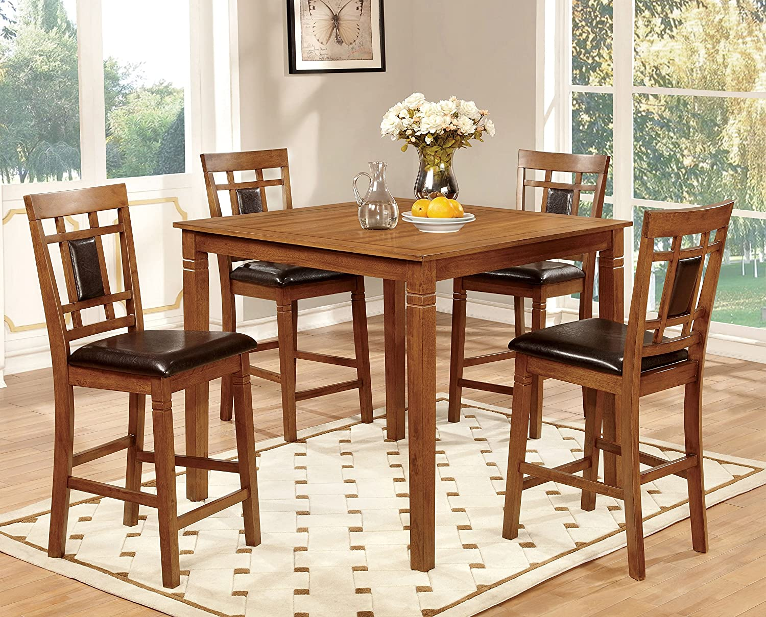 amazoncom furniture of america lazio 5piece pub dining set light oak table u0026 chair sets