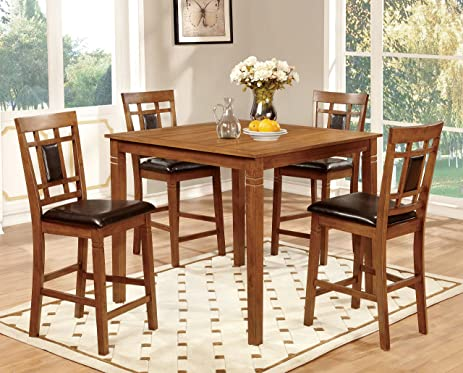 Furniture Of America Lazio 5 Piece Transitional Pub Dining Set, Light Oak