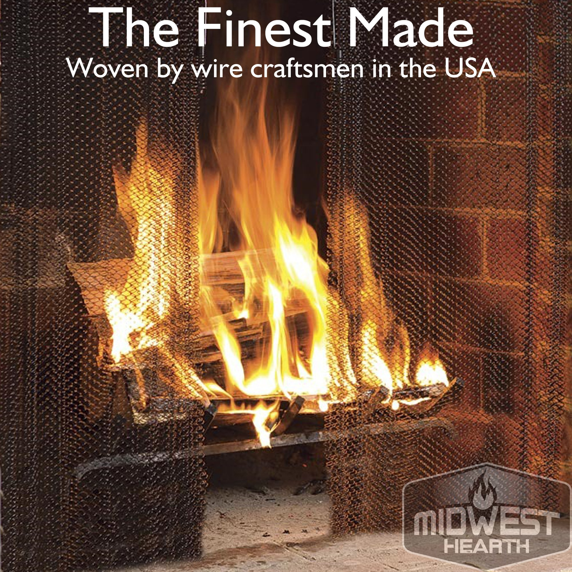 Midwest Hearth Fireplace Screen Mesh Curtain. 2 Panels Each 24'' Wide. Includes Screen Pulls. Made in USA (26'' Tall - Stainless Steel)