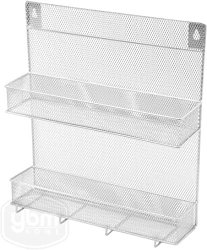 YBM Home 2-Tier Wall Mount Mesh Spice Rack Organizer with Hooks for Cabinet Pantry Door Kitchen, Large Hanging Spice Shelf, Chrome 1153