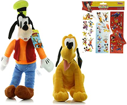Amazon Com Goofy And Pluto Plush Doll Disney 17 Goofy Plush Toy 11 Pluto Plush Toy Mickey Mouse Clubhouse Sticker Fun Set Toys Games