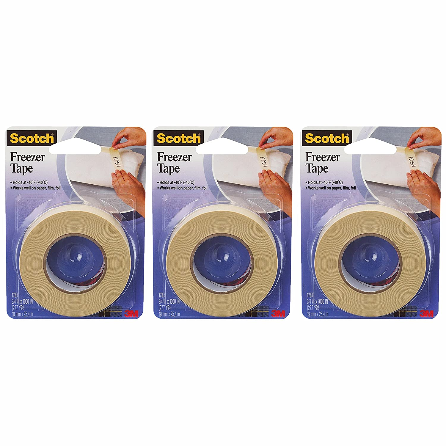 "3M 178 ¾"" x 1100"" Freezer Tape,pack of 3"