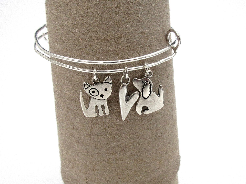 Sterling Silver Three Charm Bracelet Charm Jewelry Dog Bangle