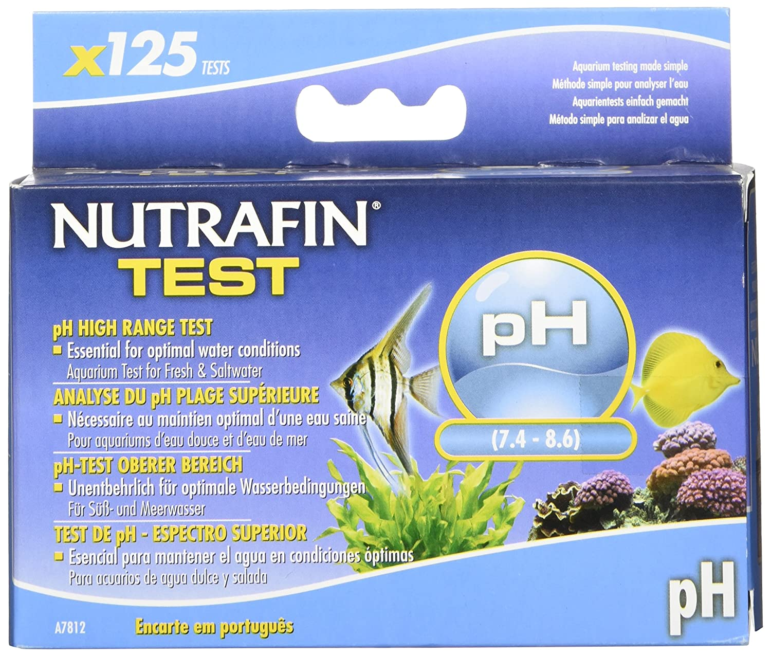 Amazon.com : Nutrafin pH High Range 7.4 to 8.6 for Fresh and Saltwater, 125-Tests : Aquarium Test Kits : Pet Supplies
