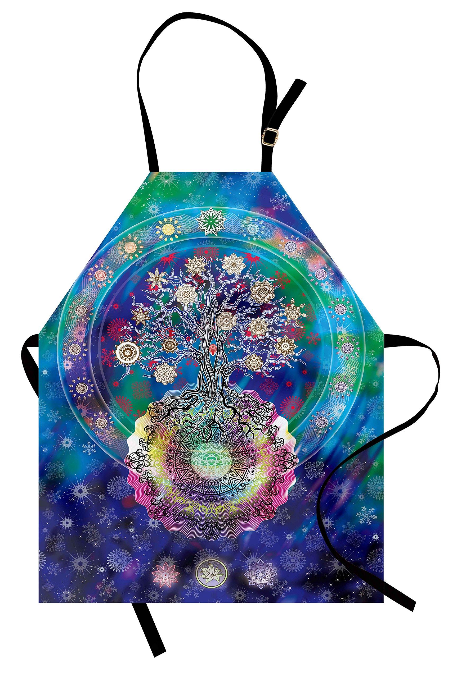 Lunarable Mandala Apron, Tree of Life Floral Style Mandala Spiritual Artwork Meditation Peace Spa Design, Unisex Kitchen Bib Apron with Adjustable Neck for Cooking Baking Gardening, Blue Purple