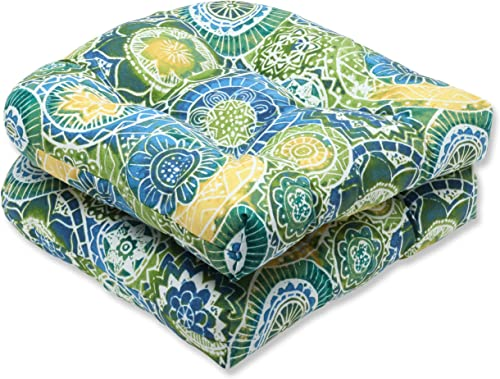 Pillow Perfect Outdoor Indoor Omnia Lagoon Tufted Seat Cushions Round Back , 19 x 19 , Blue