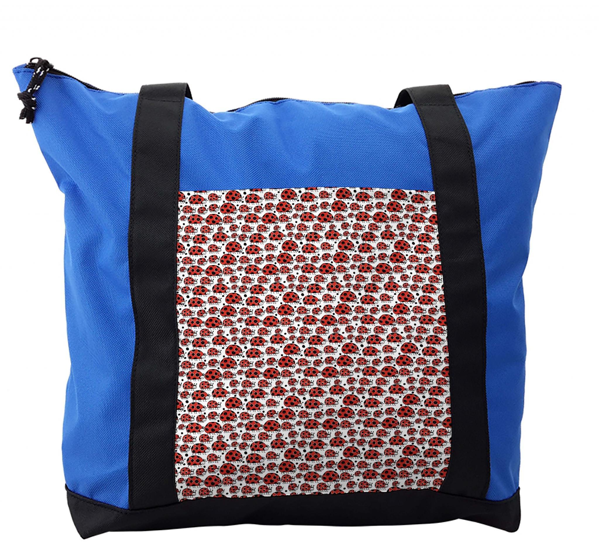 Lunarable Kids Shoulder Bag, Happy Ladybird Childish Doodle, Durable with Zipper