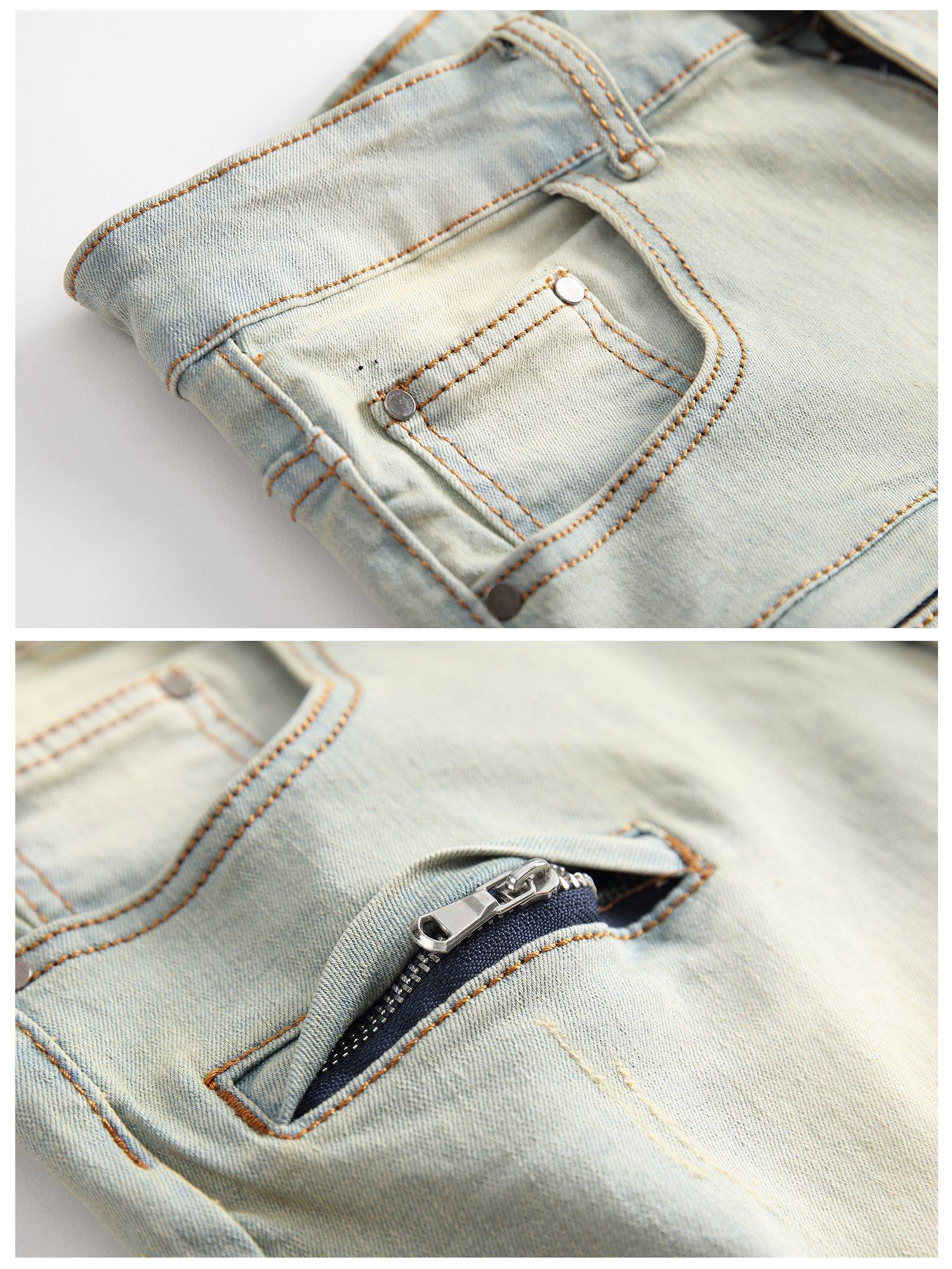 CLANNAD Men's Moto Biker Shorts Jeans Zipper Denim Casual Slim Shorts with Hole Vintage Blue 30 by CLANNAD (Image #3)