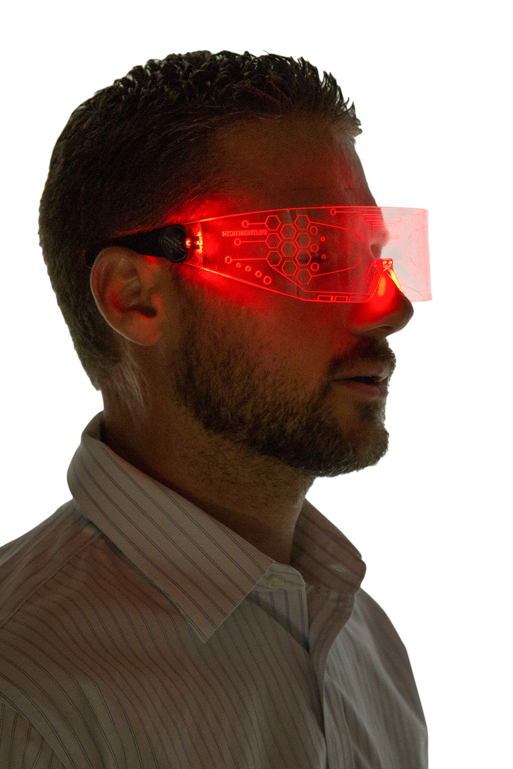 Neon Nightlife LED Light Up Glasses, Single Lens Tron Style, Red