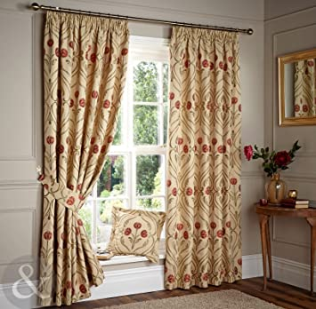 Red Curtains beige red curtains : Art Nouveau Curtains - Luxury Beige & Red Lined Pencil Pleat ...