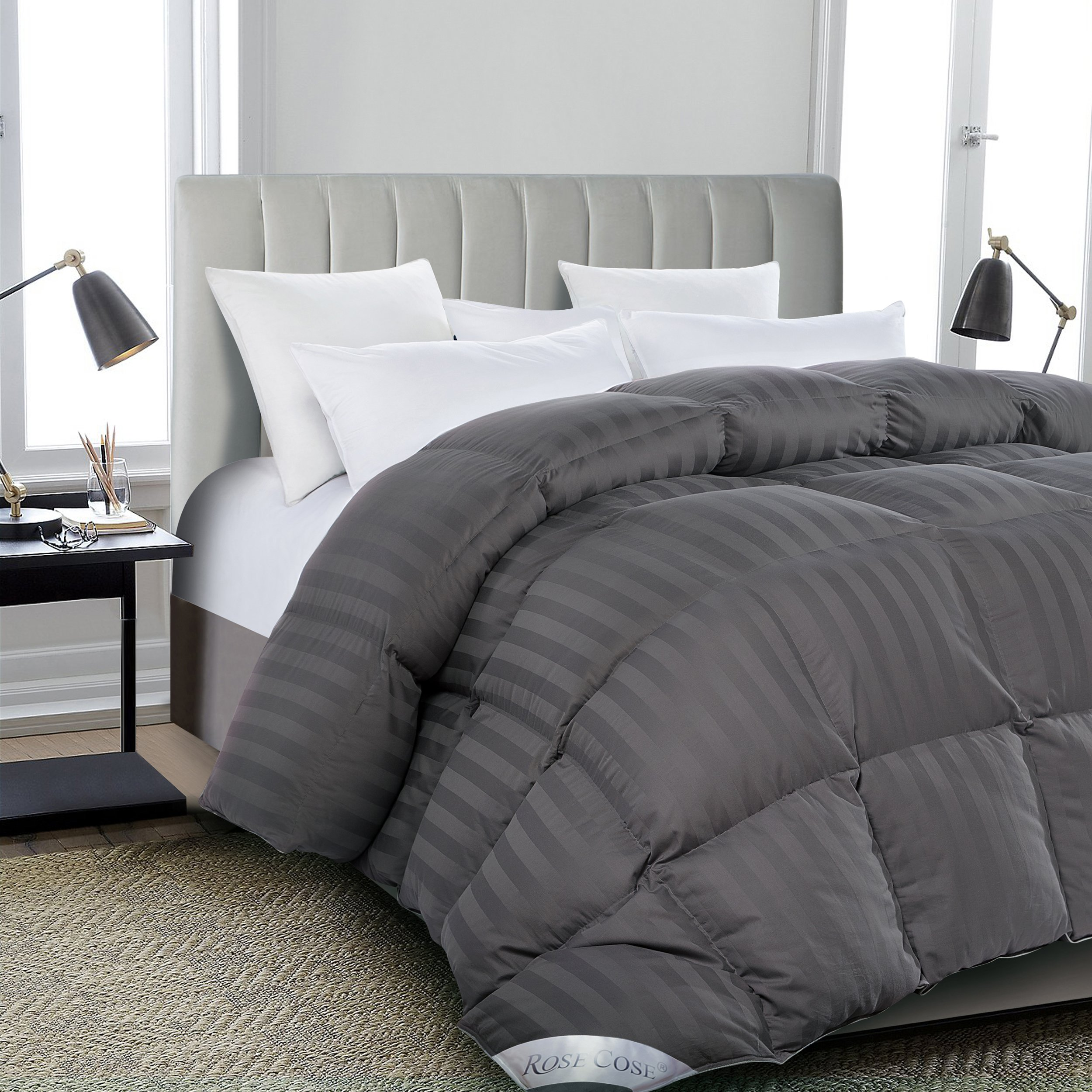 ROSECOSE Luxurious All Seasons Goose Down Comforter Queen Size Duvet Insert Gray Stripe 1200 Thread Count 750+ Fill Power 100% Cotton Shell Hypo-allergenic Down Proof With Tabs (Queen,Gray Stripe)