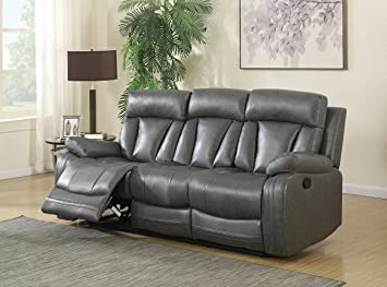 Meridian Furniture 645GRY S Avery Plush Leather Double Reclining Sofa, Grey