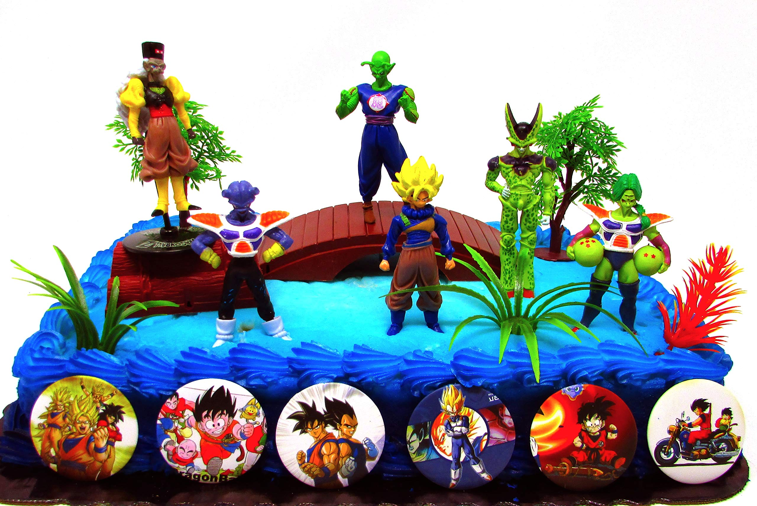 Dragon Ball Z 13 Piece Birthday Cake Topper Featuring 3 Anime Dragon Ball Z Figures and Decorative Accessories