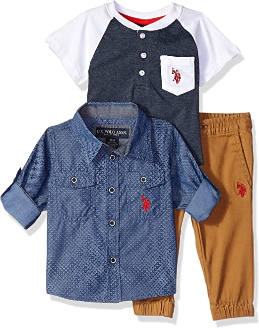U.S. Polo Assn. Baby Boys Long Sleeve, T-Shirt Pant Set, Navy with ...