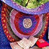 Unique Colorful Beach Sheet Home Decor Indian Hippie Mandala Tapestry, 230 x 220 cm by Craftozone