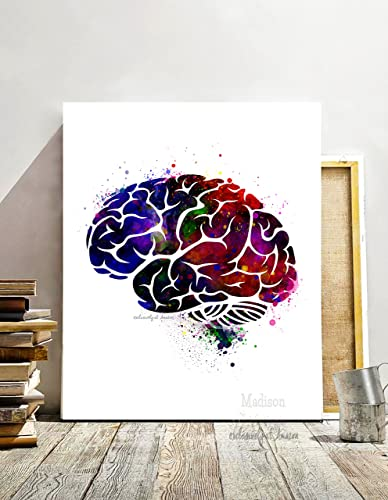 Wall Art For An Office Throughout Brain Watercolor Art Print Dorm Room Wall Art Office Decor Digital Painting Amazoncom