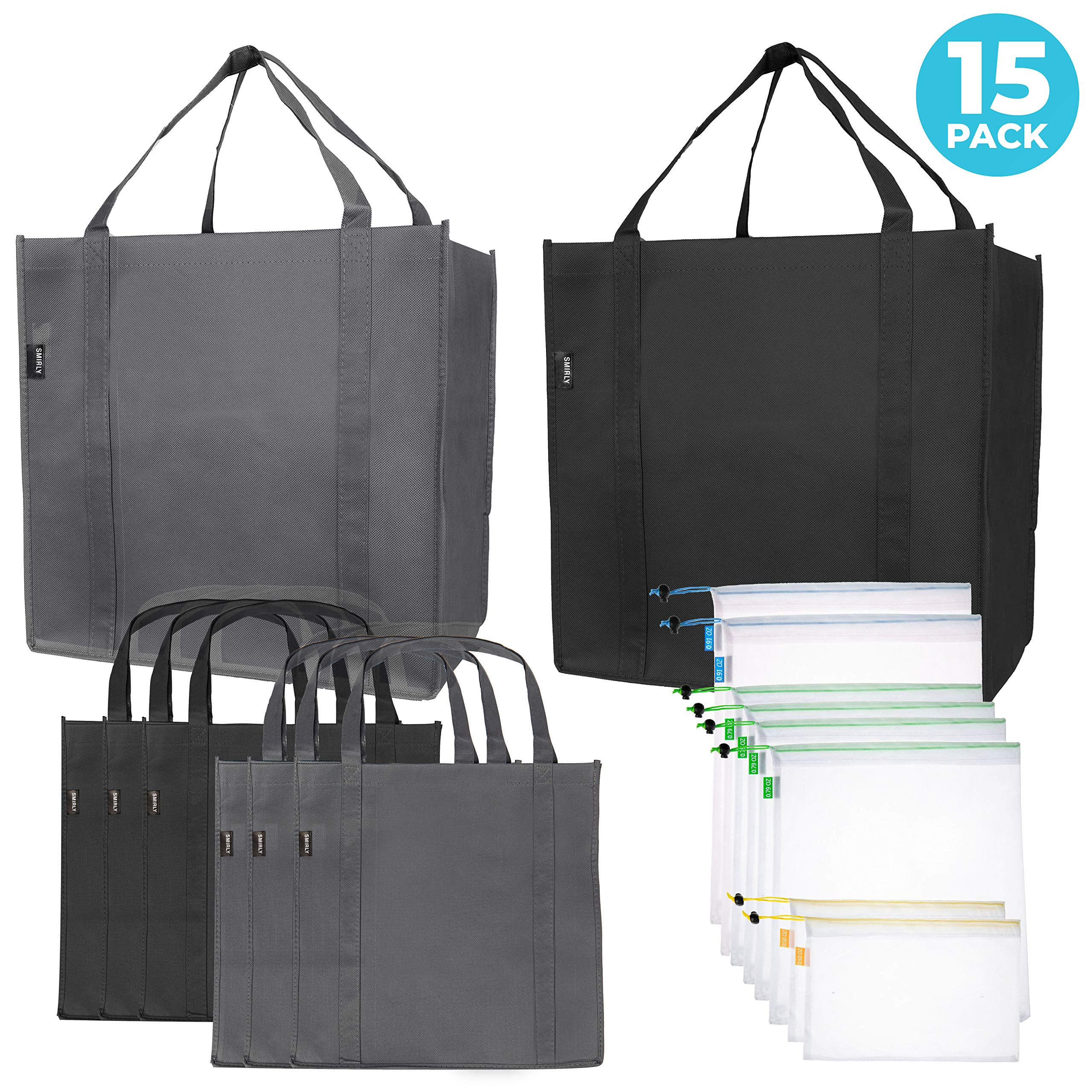 Reusable Folding Grocery and Produce Bags: 6 Large Fabric Totes with Handles and Inner Pocket and 9 Eco Friendly Breathable Mesh Produce Bags – Foldable Cloth Shopping Tote and Mesh Bag Set – 15 Pack
