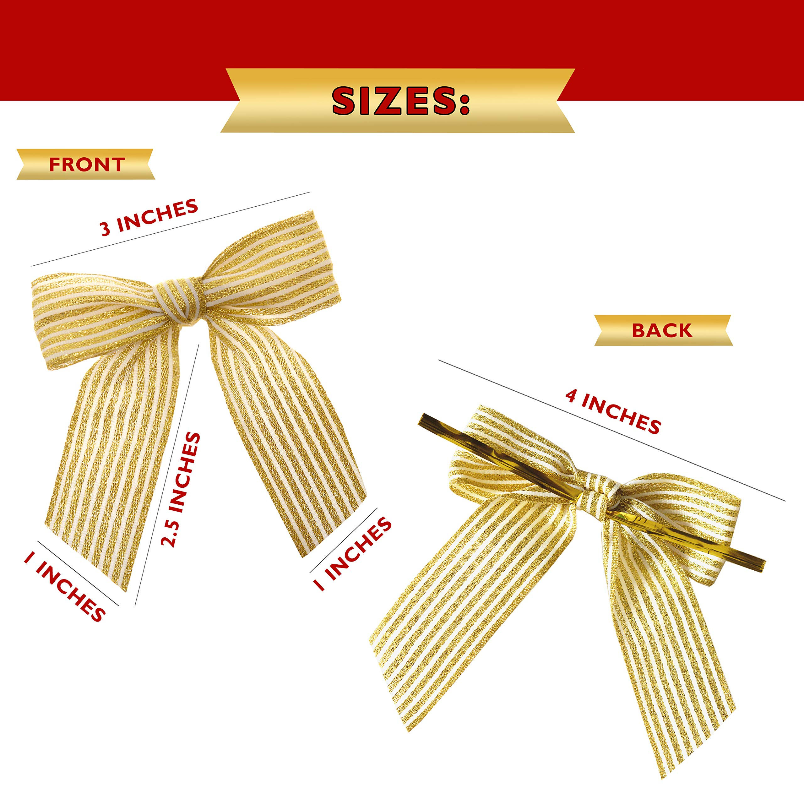 VANILILA Ribbon Bow Decoration Twist On Gift Tag Embellishments, Bulk Set of 20 - Handmade White & Gold Bows for DIY Wedding Display Card, Hair Clips, Headband, Decor, Arts & Crafts