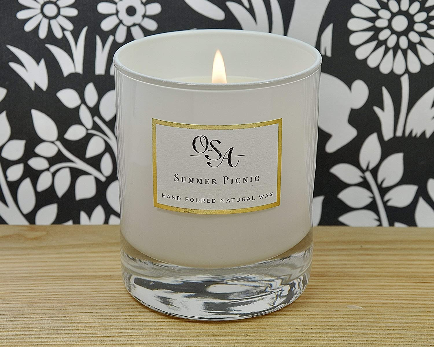 Luxury Scented Candle with Citronella essential oil; Enjoy outdoor living and entertaining with our Summer Picnic handmade soy candle