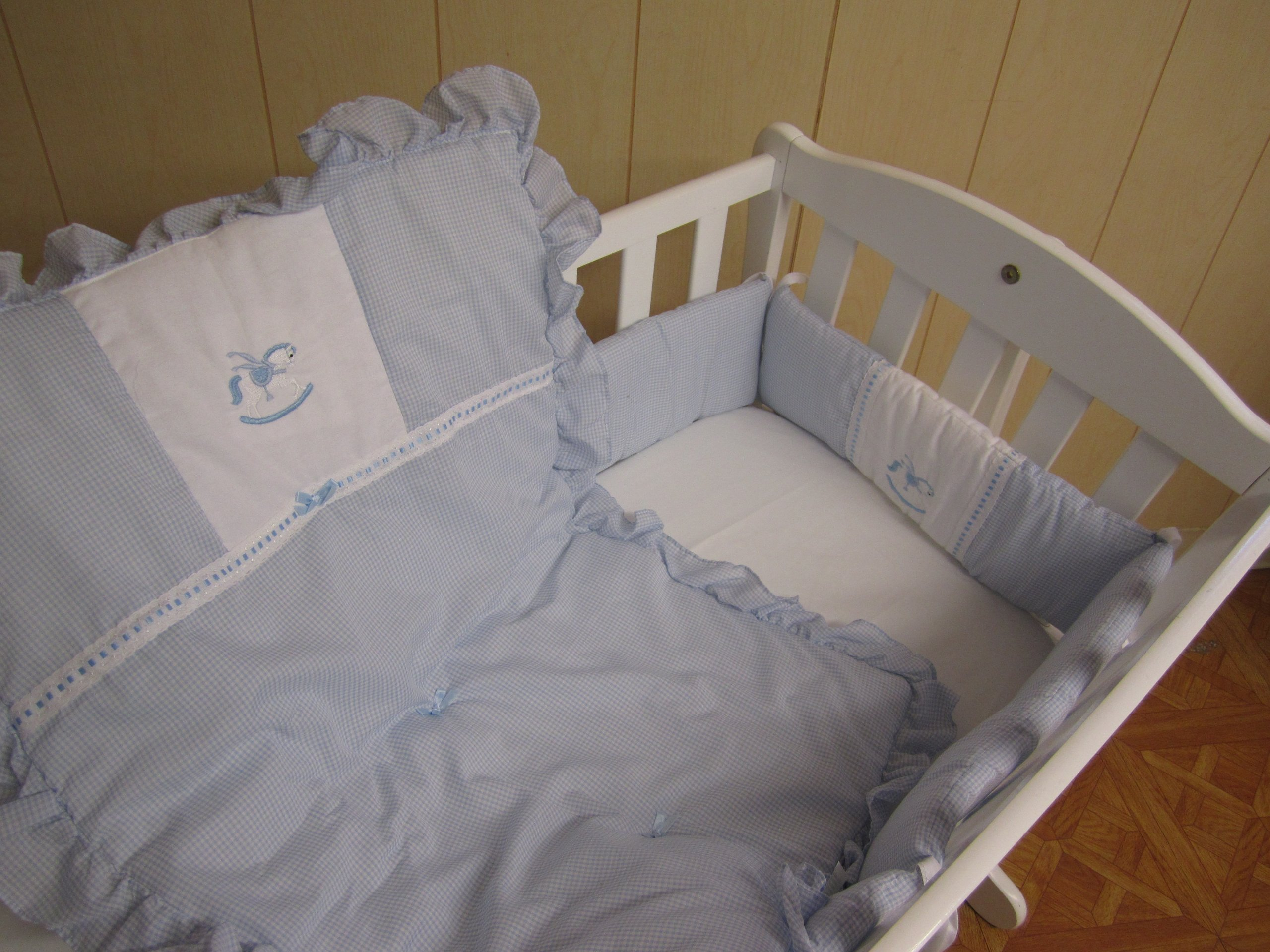 Baby Doll Bedding Gingham Cradle Bedding Set, Blue by BabyDoll Bedding