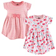 Touched by Nature Baby Girls Organic Cotton Dresses, Rosebud Short Sleeve 2 Pack, 9-12 Months (12M)