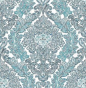 Bhf Fd22743 Mirabelle Fontaine Motif Damasse Bleu Papier Peint