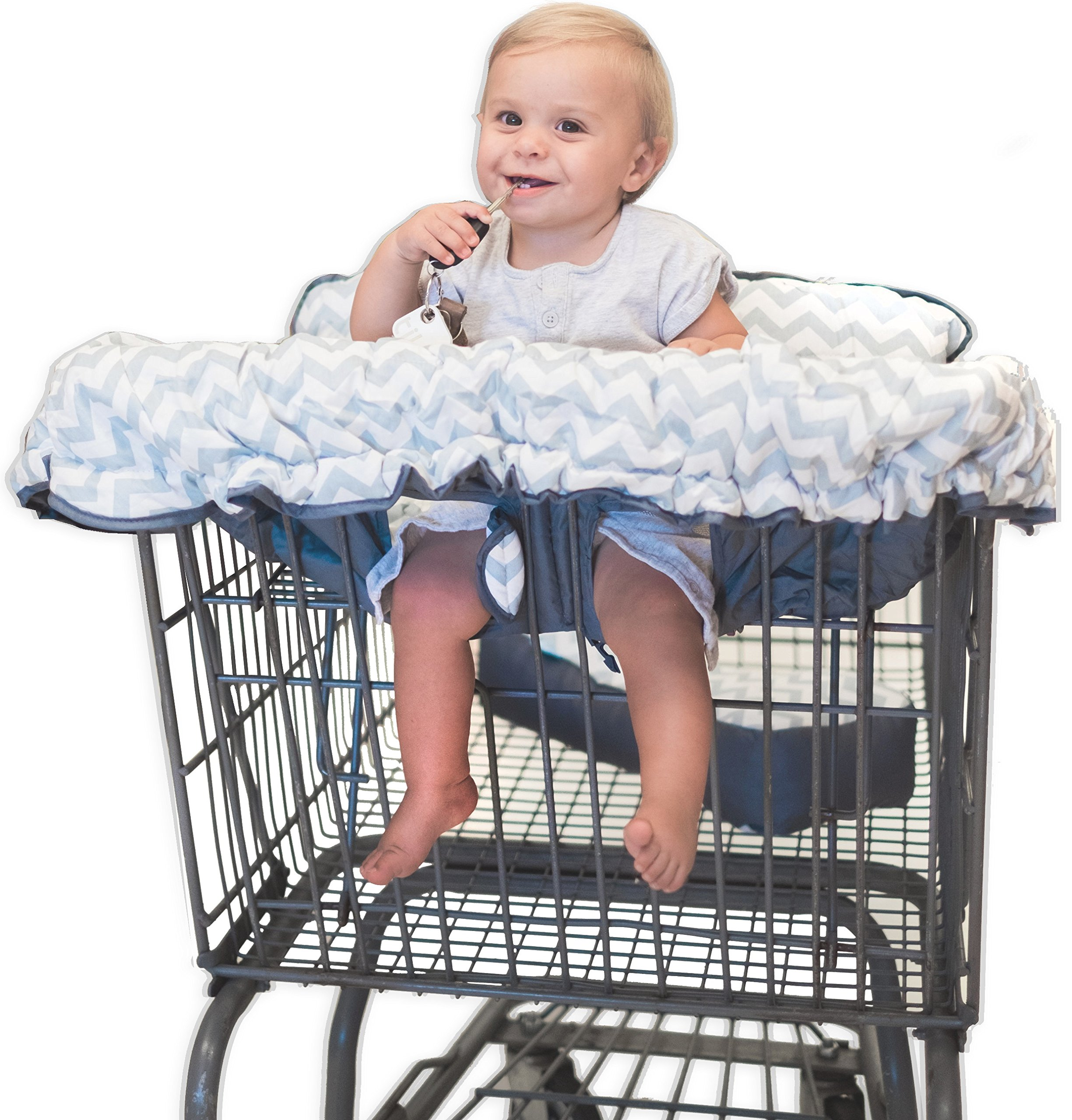 Premium 2-in-1 Cotton Shopping Cart Cover | High Chair Cover for Baby & Infant with Comfortable Pillow, Cell Phone Carrier, Teether, and Bonus Toy Straps - Summer Grocery Cart Cushion for Boy or Girl