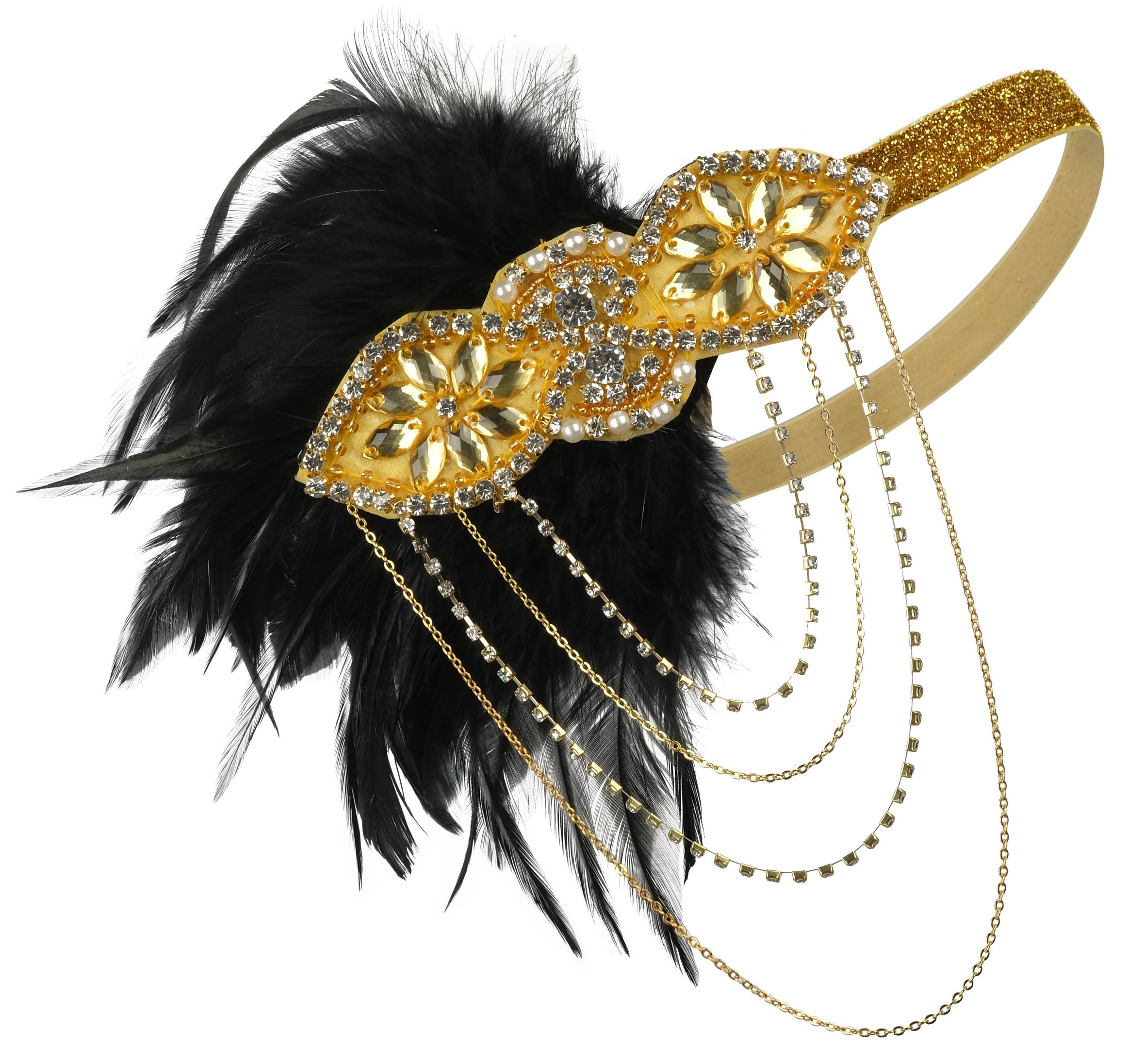 1920s Flapper Headband Great Gatsby Accessories Fascinator with Feathers 20s Headpiece