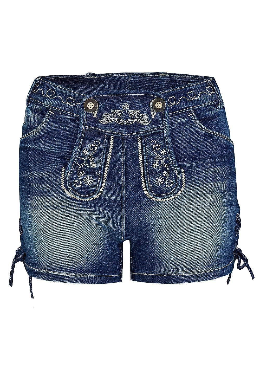 Kurze Jeans mit Lederhosenoptik Gr. 30-44 Damen Stretch Trachtenjeans Johanna