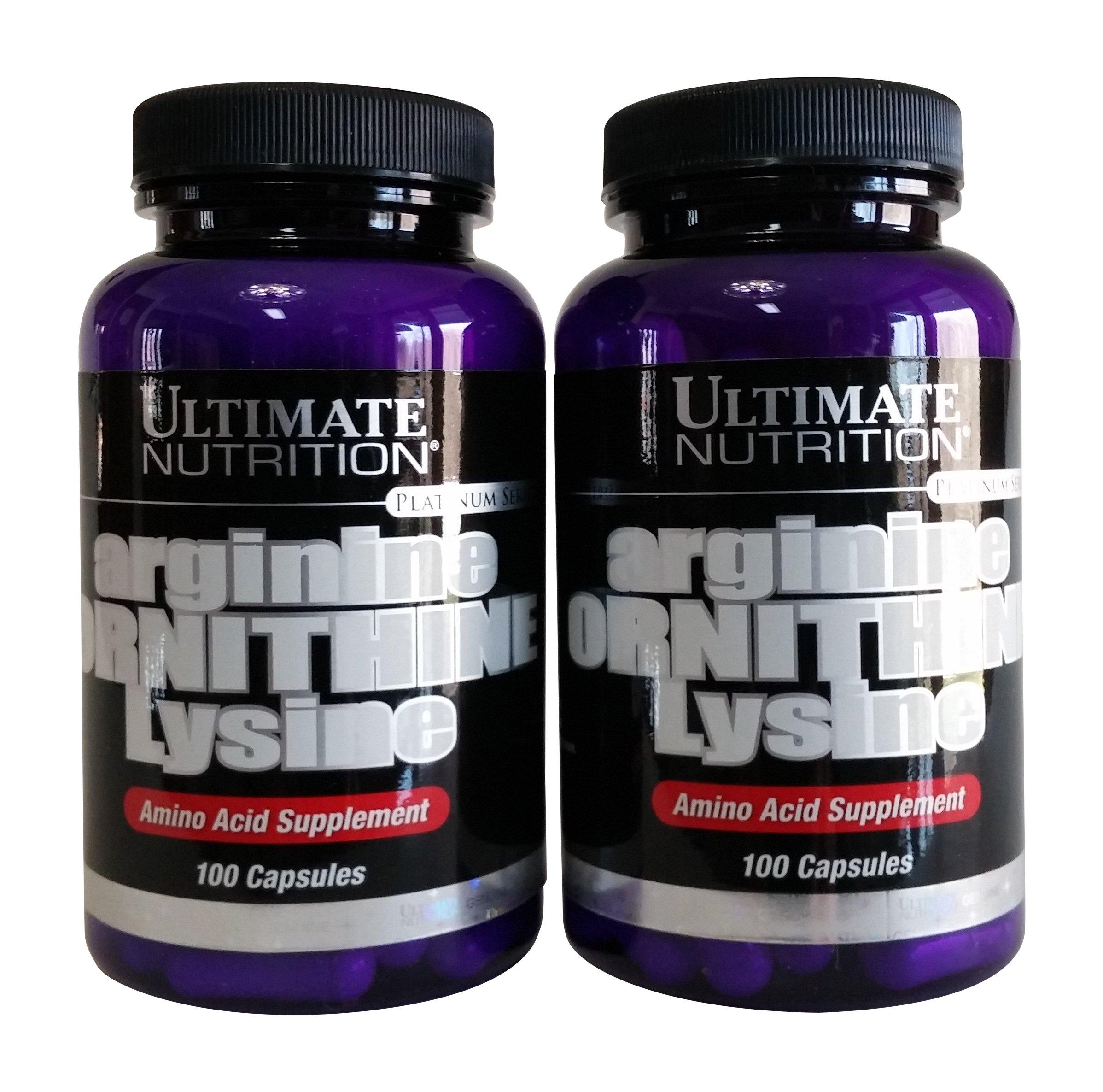 Ultimate Nutrition Arginine Ornithine Lysine Capsules, 100-Count Bottles (Pack of 2)