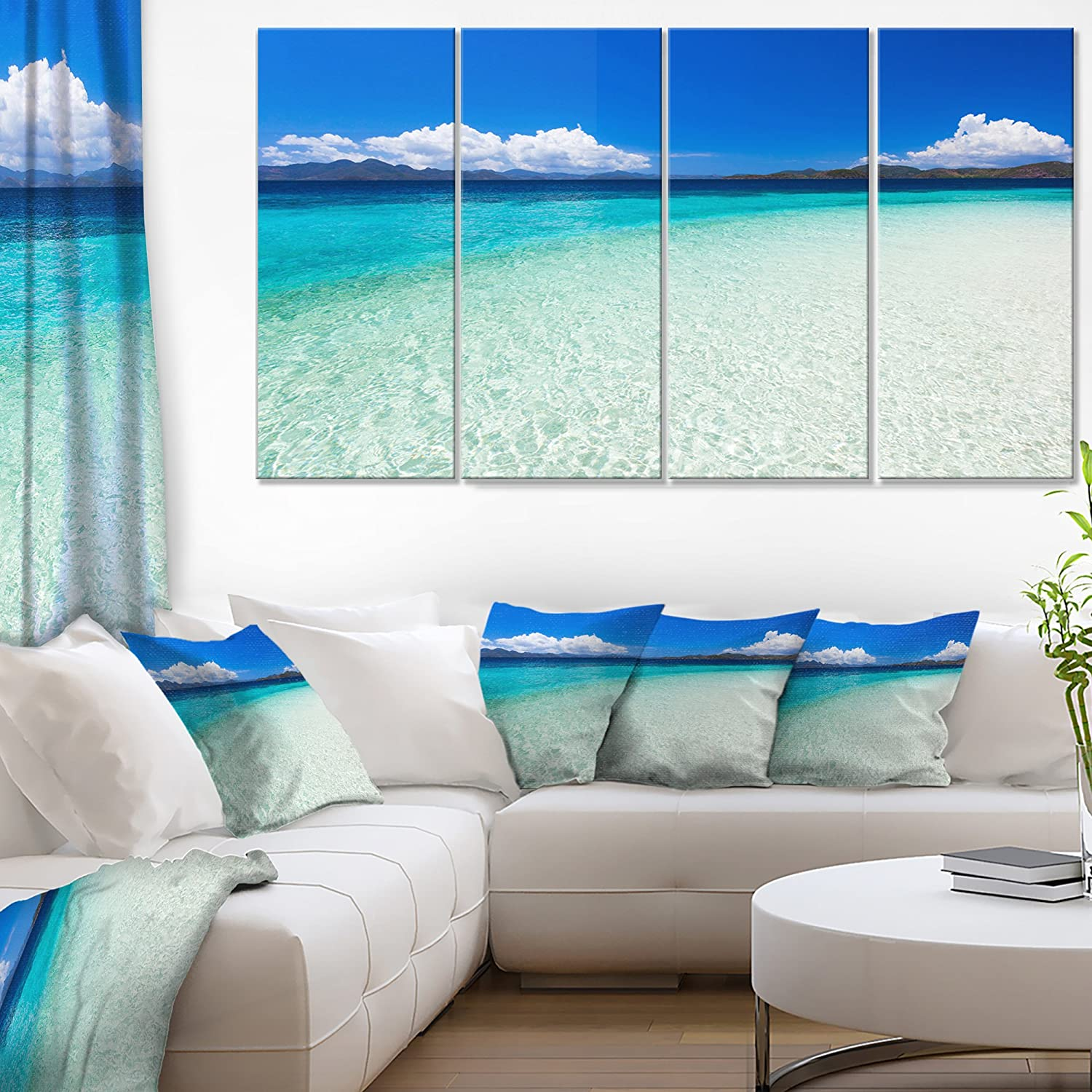 Designart Vacant Beach With Turquoise Water Seashore Canvas Wall Artwork 48x28 4 Piece Pt9919 271 28 H X 48 W X 1 D 4p Posters Prints