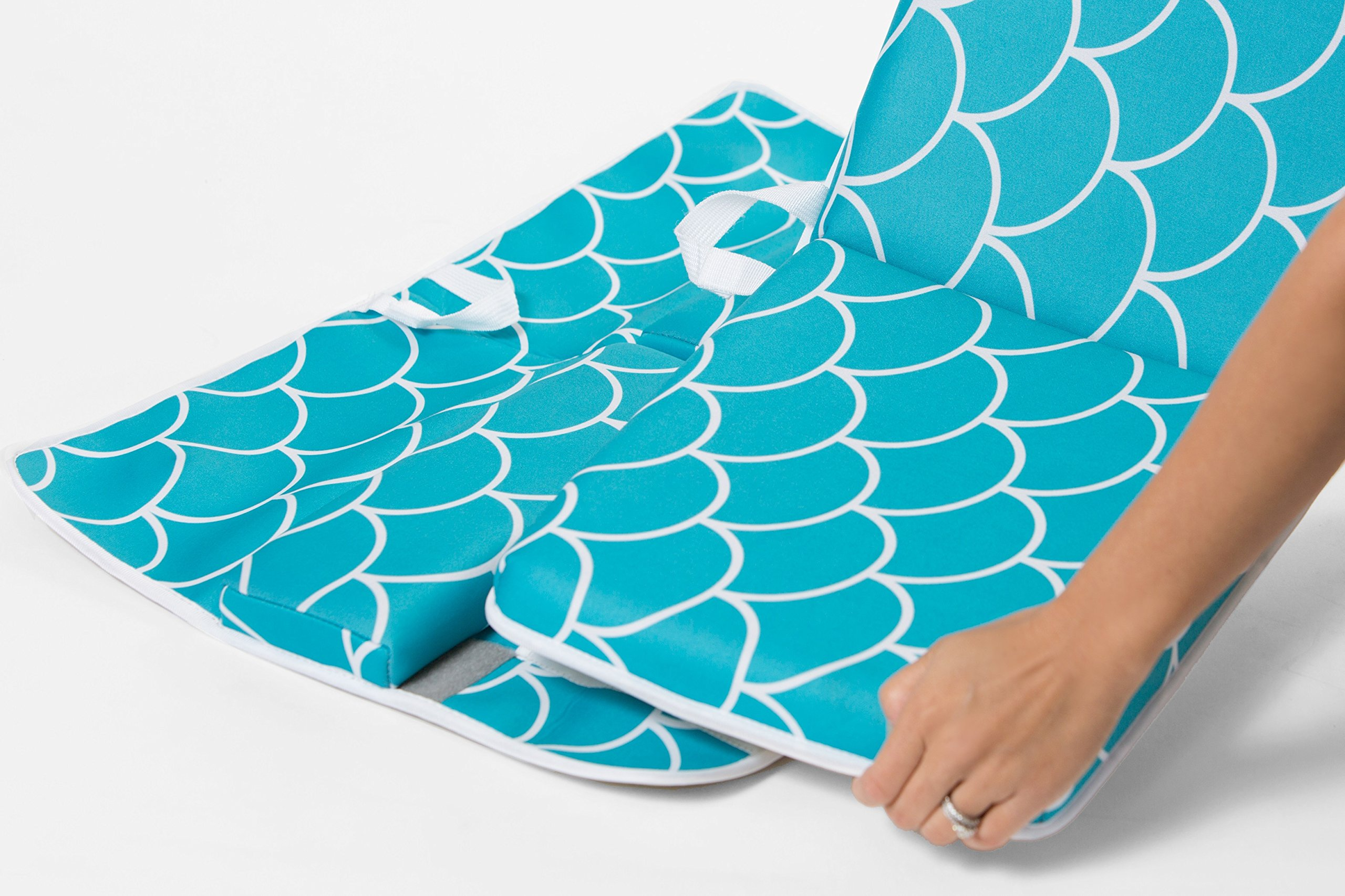 Baby Bath Kneeling Pad with Elbow Rest - Extra Long - Mermaid Design in Teal Blue - with Bonus Mesh Bath Toy Organizer - Wonderful Gift Set for Parents with a Infant, Toddler - by Fins + Tales