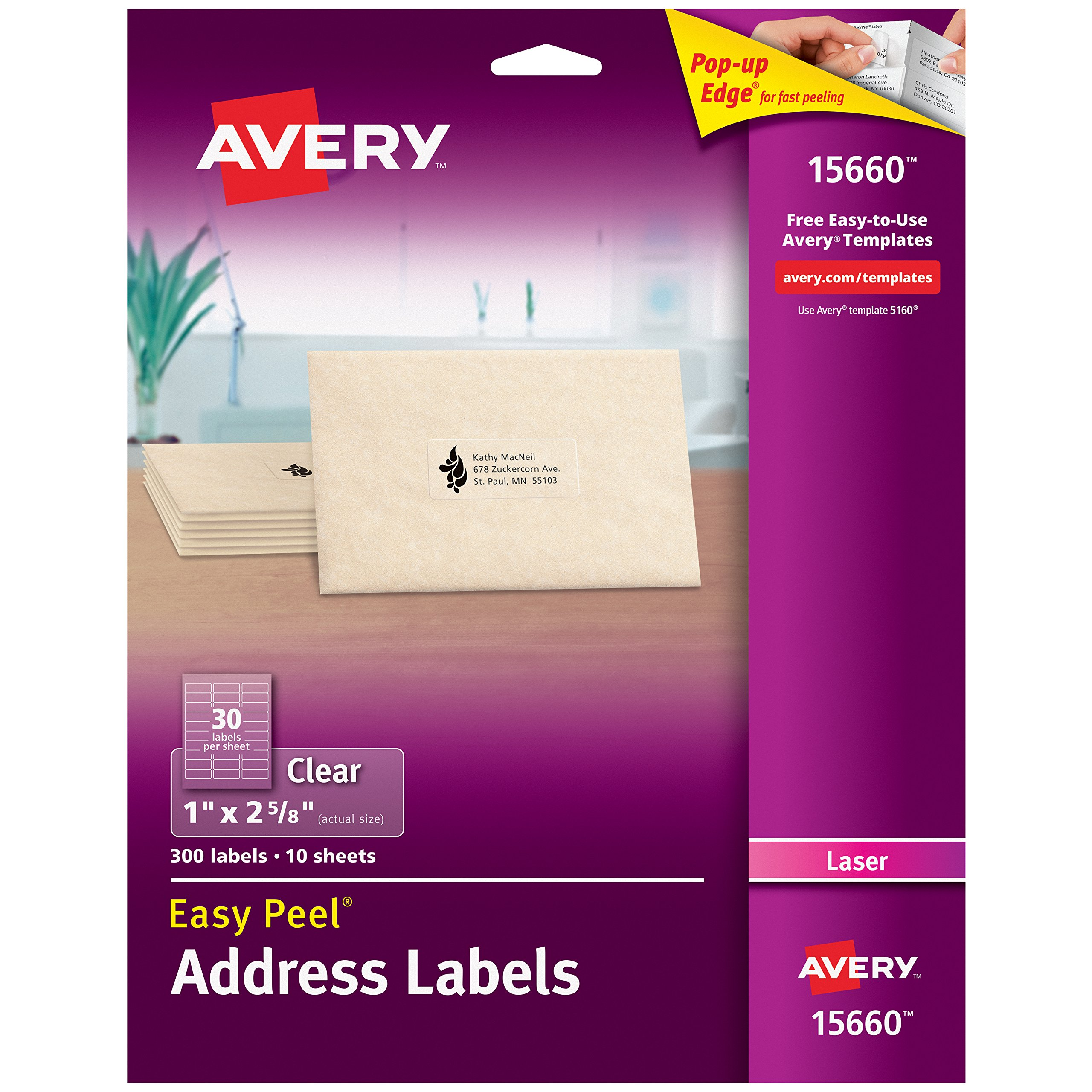 Avery Matte Frosted Clear Address Labels for Laser Printers, 1'' x 2-5/8'', 300 Labels (15660)