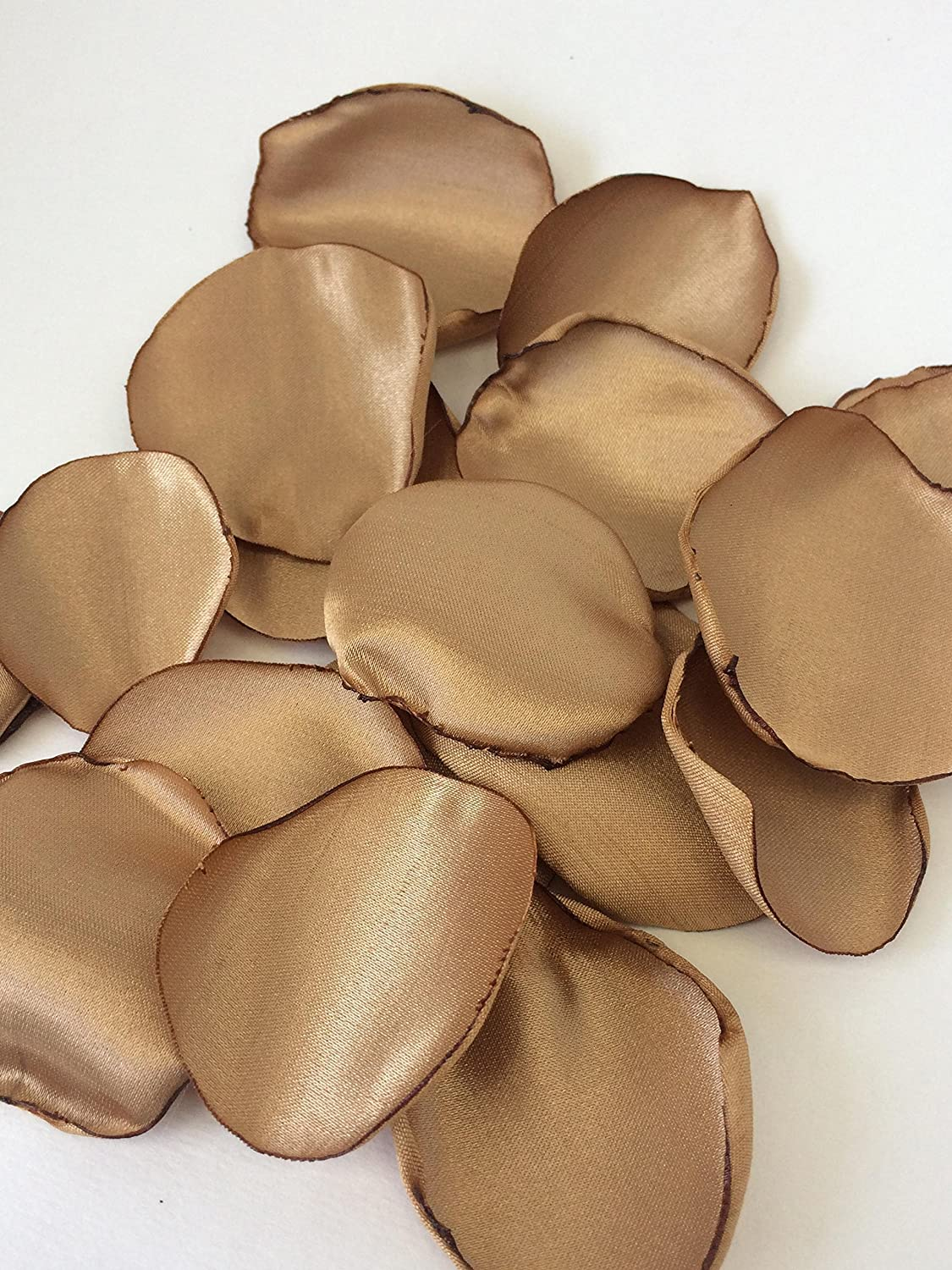 (50) Handmade antique satin solid gold fabric flower petals- wedding toss, flower girl, aisle decor, satin petals, bendy blossoms bendyblossoms