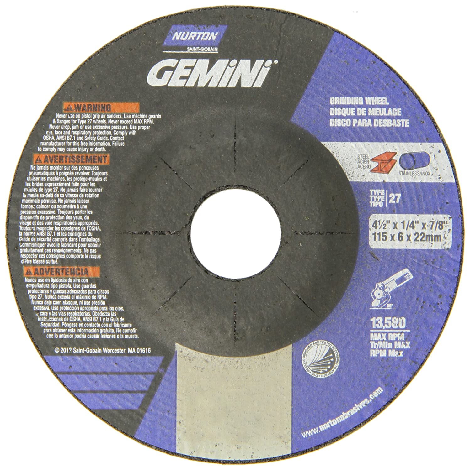 Depressed Center Wheel 1//4 in Thick 4 1//2 in Dia 24 Grit Zirconia 64 Pack