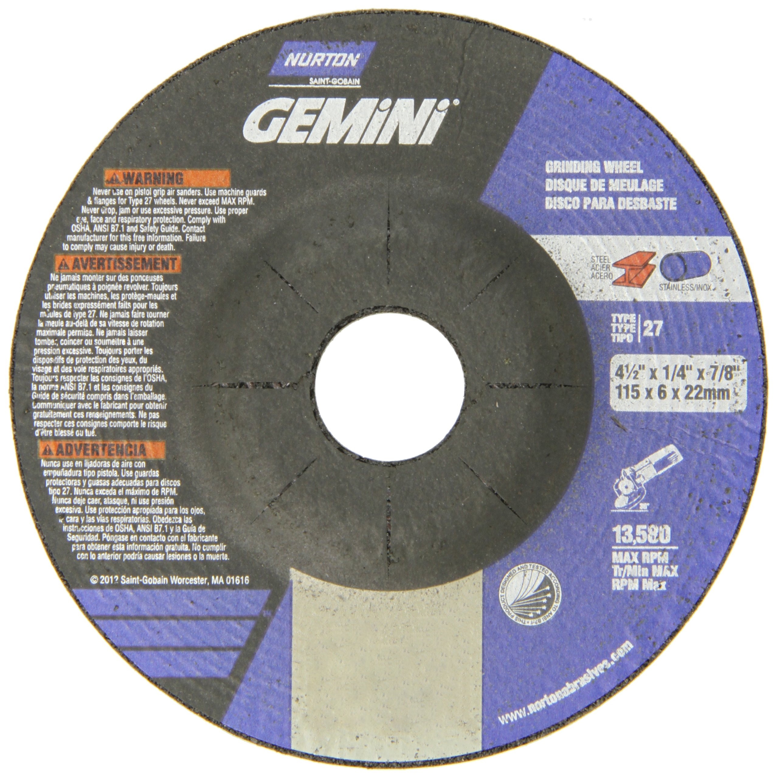 Norton Gemini Depressed Center Abrasive Wheel, Type 27, Aluminum Oxide, 7/8'' Arbor, 4-1/2'' Diameter x 1/4'' Thickness  (Pack of 25)