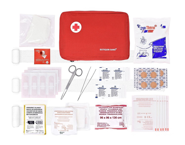 Botiquín primeros auxilios ROL 90 artículos (incluye venda triangular, manta de emergencia, bolsa de frío, etc)