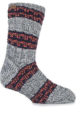Urban Knit Mens 1 Pair Textured Twisted Yarn Chunky Slipper Socks 7 ...