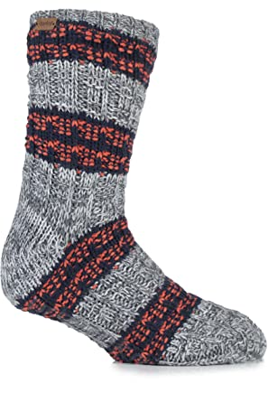 Urban Knit Mens 1 Pair Textured Twisted Yarn Chunky Slipper Socks 7
