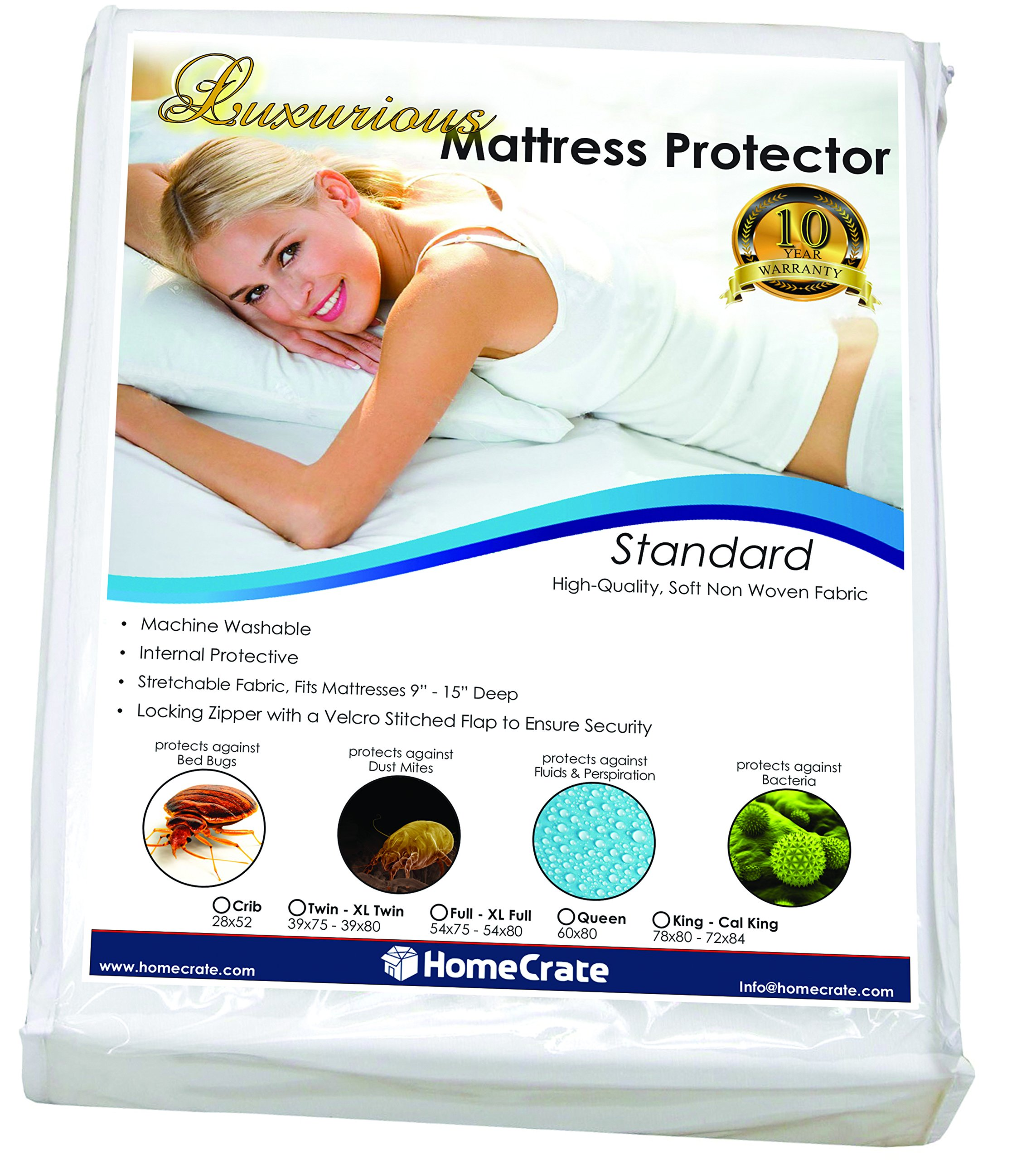 HomeCrate Natural Sleep Defence - Standard Water-Resistant/Bed Bug Proof Mattress Encasement 78'' 80' King,