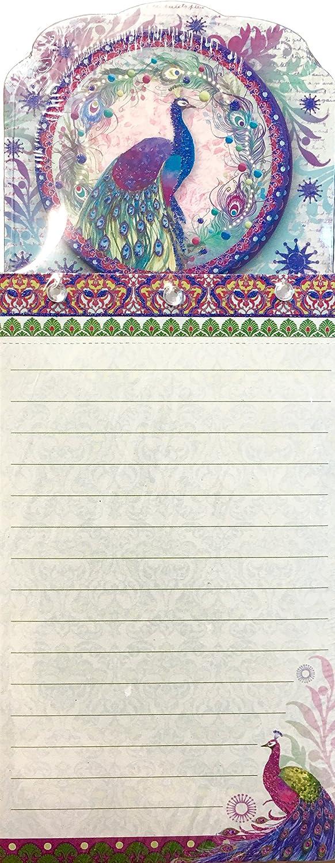 Punch Studio Gem and Glitter Embellished Die-Cut List Pad ~ Peacock Wreath 66558