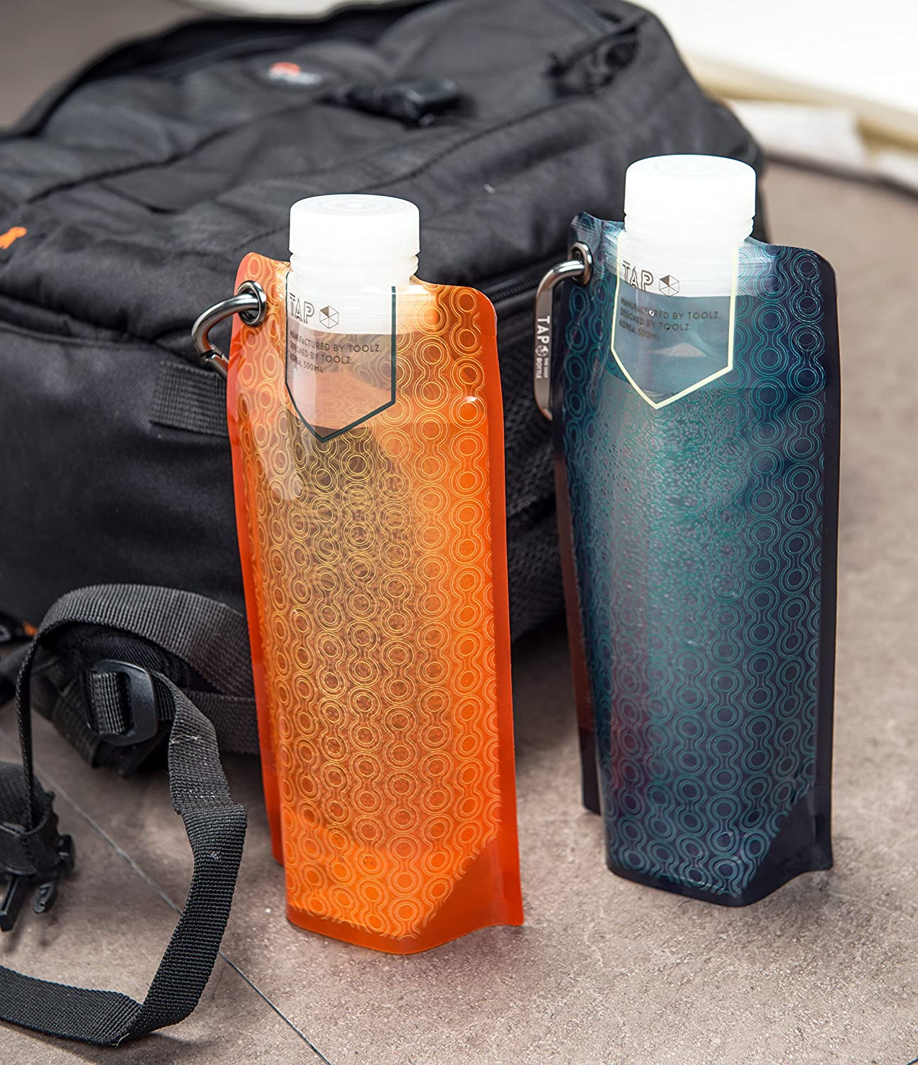 Tap Antibacterial Collapsible Water Bottle BPA Free Flat Hydration Soft Canteen Leevo inc.