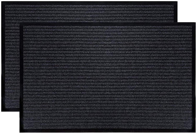 SHUNLEI Entrance Door Mat Rug Indoor//Outdoor//Front Door//Shower Bathroom Doormat Non-Slip Shoe Scraper Carpet 23.6 x 15.7 Black and White Stripes