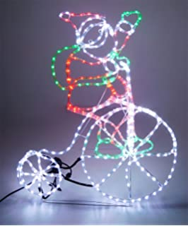 Garden mile large 180cm santa with sleigh and reindeer animated christmas concepts rope light santa on bicycle with flashing wheel 85cm x 103cm aloadofball Choice Image