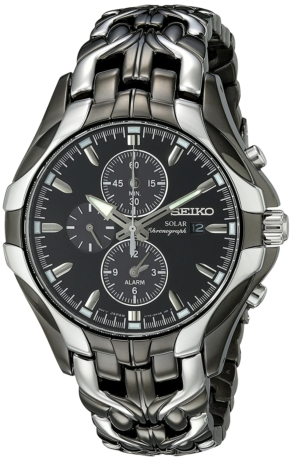 Solar Chronograph Stainless Steel Case and Bracelet Black Dial