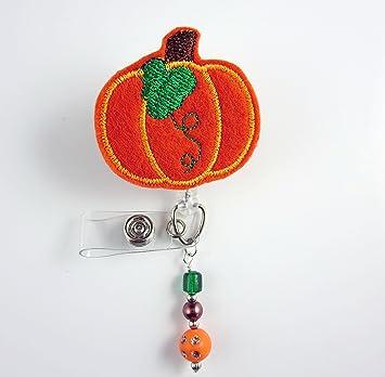 Pumpkin Badge Reel Badge Holder Halloween Badge Reel Fall Badge Reel Badge Reel ID ID Badge Reel Retractable Badge Nurse Badge Reel