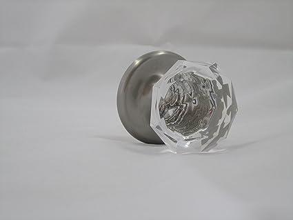 Diamond Cut Acrylic & Brushed Nickel Door Knob, Solid Elegant Door ...