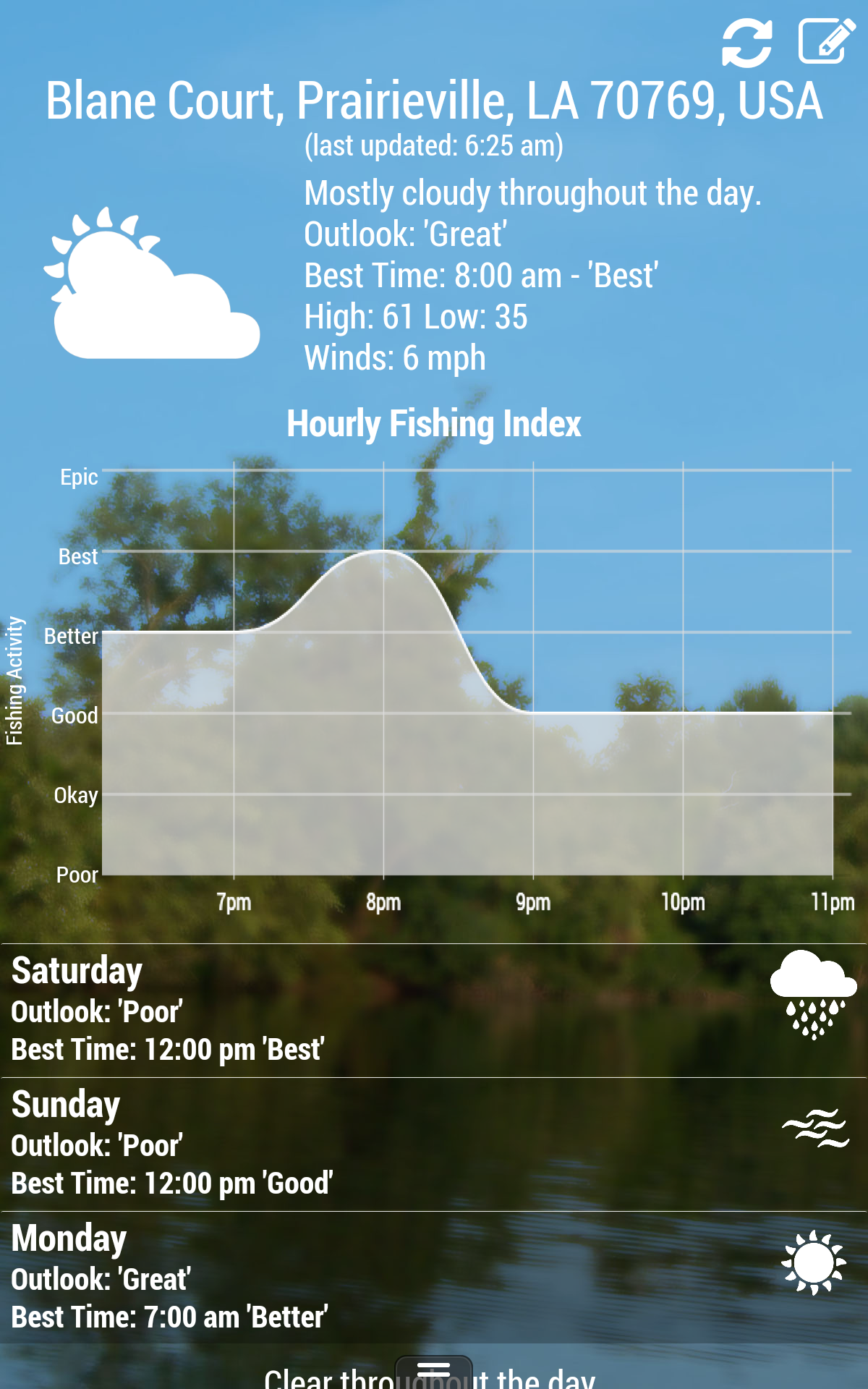 My fishing forecast appstore for android for Fishing weather report