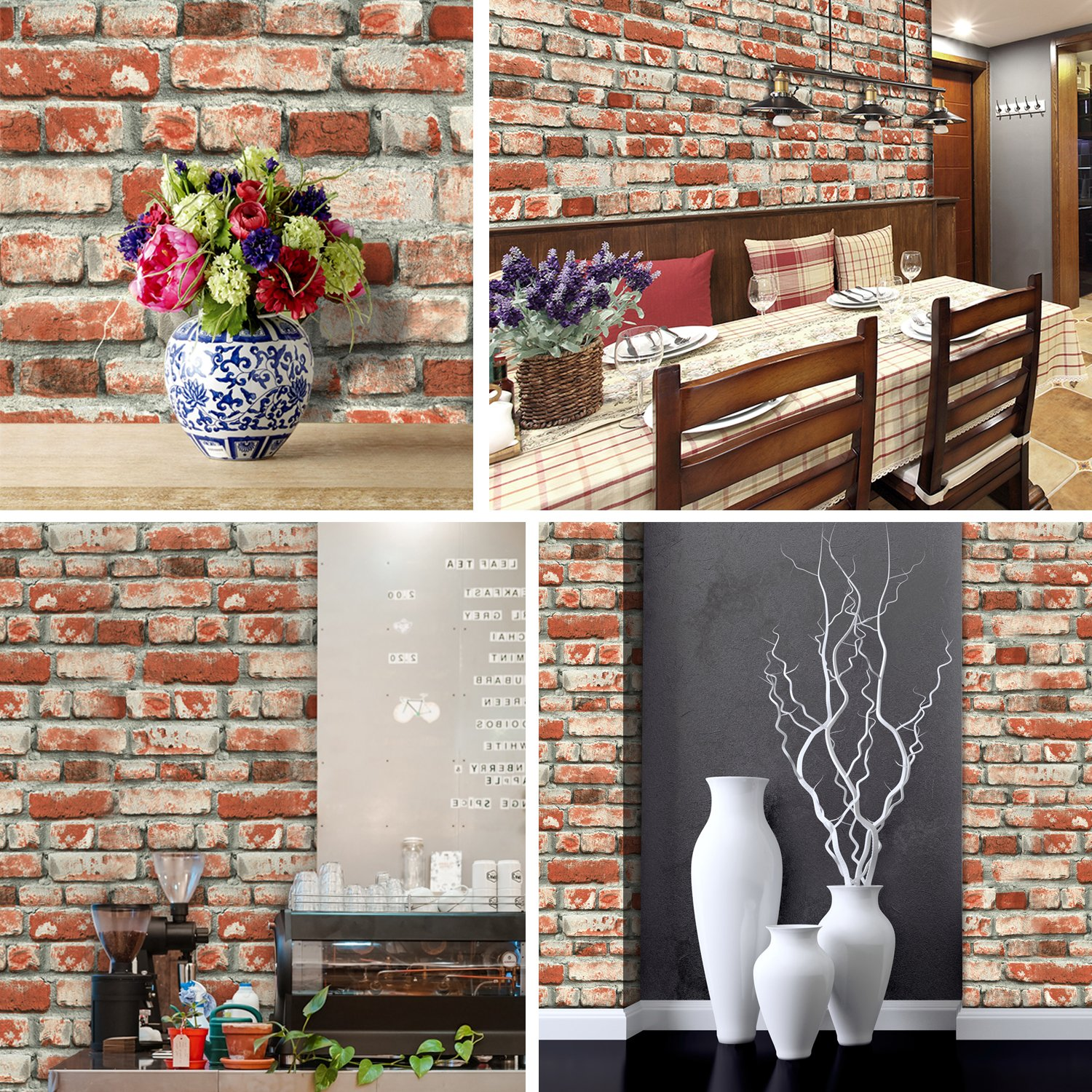 Amazoncom YT6501 Red Brick Wallpaper RollVintage Faux
